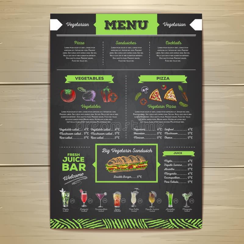 Progettazione vegetariana del menu dell'alimento del disegno di gesso illustrazione di stock