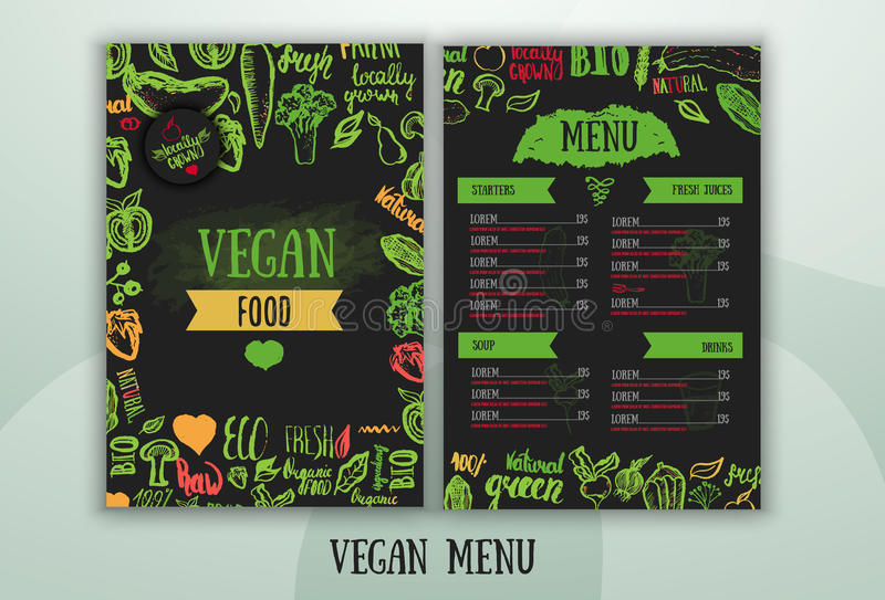 Progettazione vegetariana moderna del menu dell'alimento illustrazione di stock