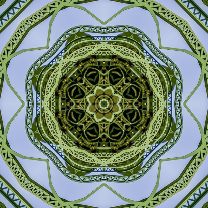 Progettazione verde circolare delle barre di metallo del quadrato creata facendo uso delle riflessioni in una forma arrotondata d illustrazione di stock