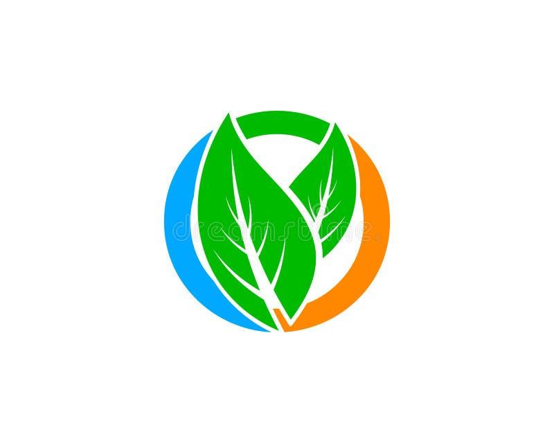 Progettazione verde del modello di logo di vettore del cerchio della natura della foglia illustrazione di stock