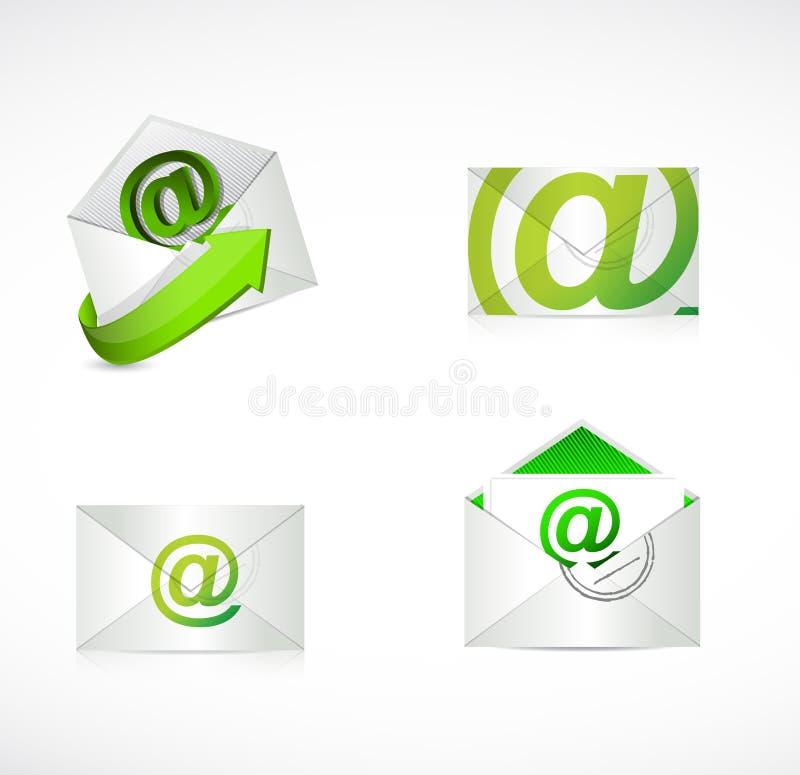 Progettazione verde dell'illustrazione delle buste del email illustrazione vettoriale