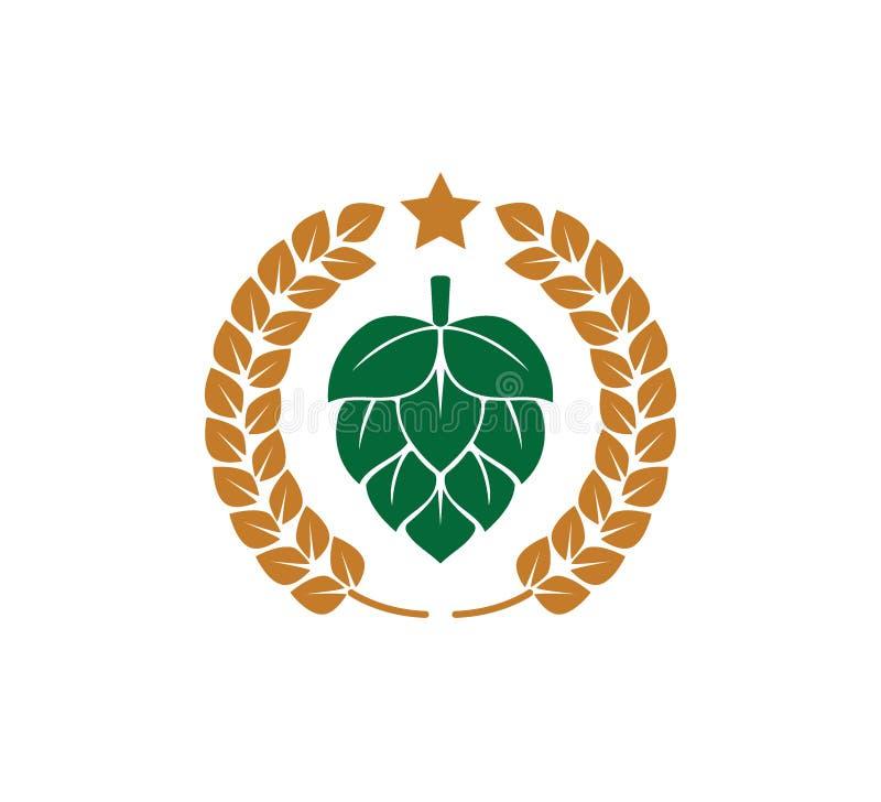 progettazione verde di logo dell'icona di vettore della frutta e del grano di luppolo su fondo bianco illustrazione di stock