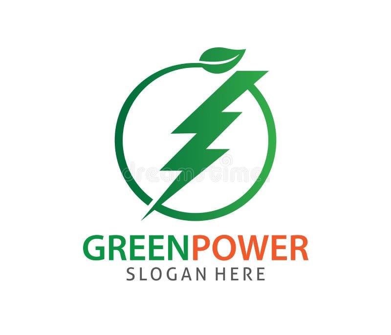 Progettazione verde di logo di vettore di elettricità di potere dell'emissione di energia zero illustrazione di stock