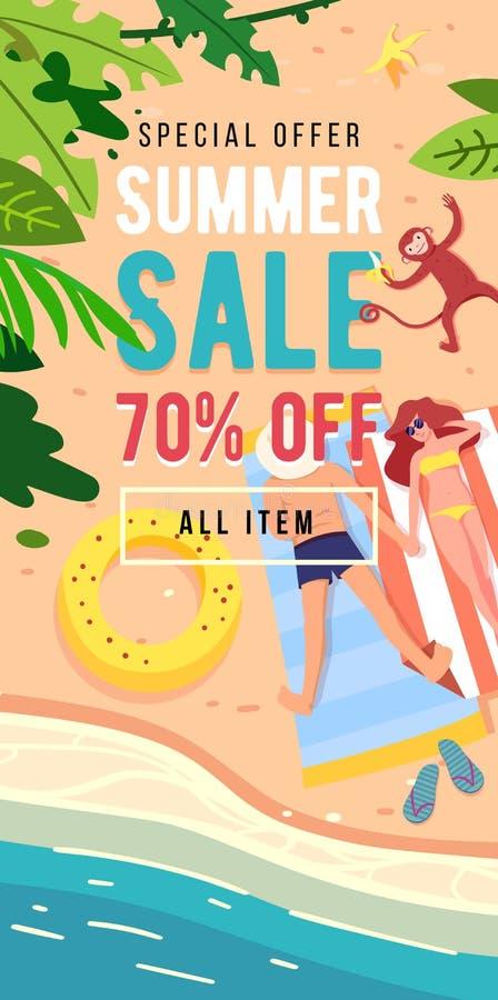 Progettazione verticale dell'insegna di vendita di estate con gli elementi della spiaggia royalty illustrazione gratis