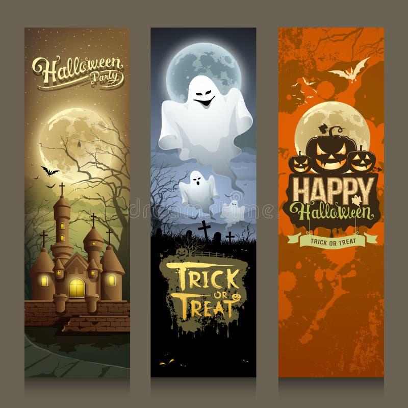 Progettazione verticale di Halloween di giorno dell'insegna felice delle collezioni illustrazione vettoriale
