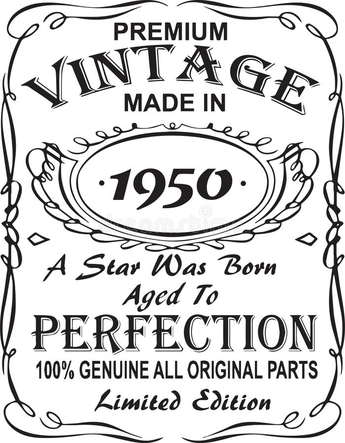 Progettazione vettoriale della stampa della maglietta L'annata premio ha fatto nel 1950 una stella è stata sopportata ha invecchi royalty illustrazione gratis