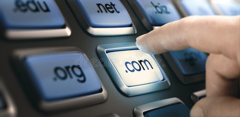 Progettazione Web, scelta dell'estensione di dominio fotografia stock libera da diritti