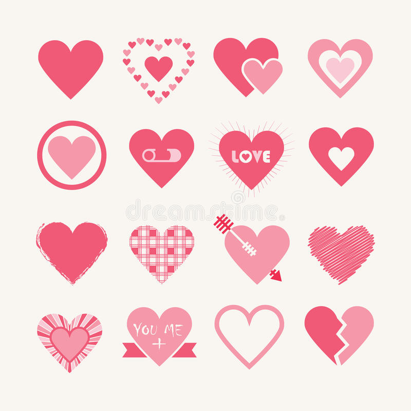 Progettazioni assortite delle icone rosa dei cuori messe illustrazione di stock