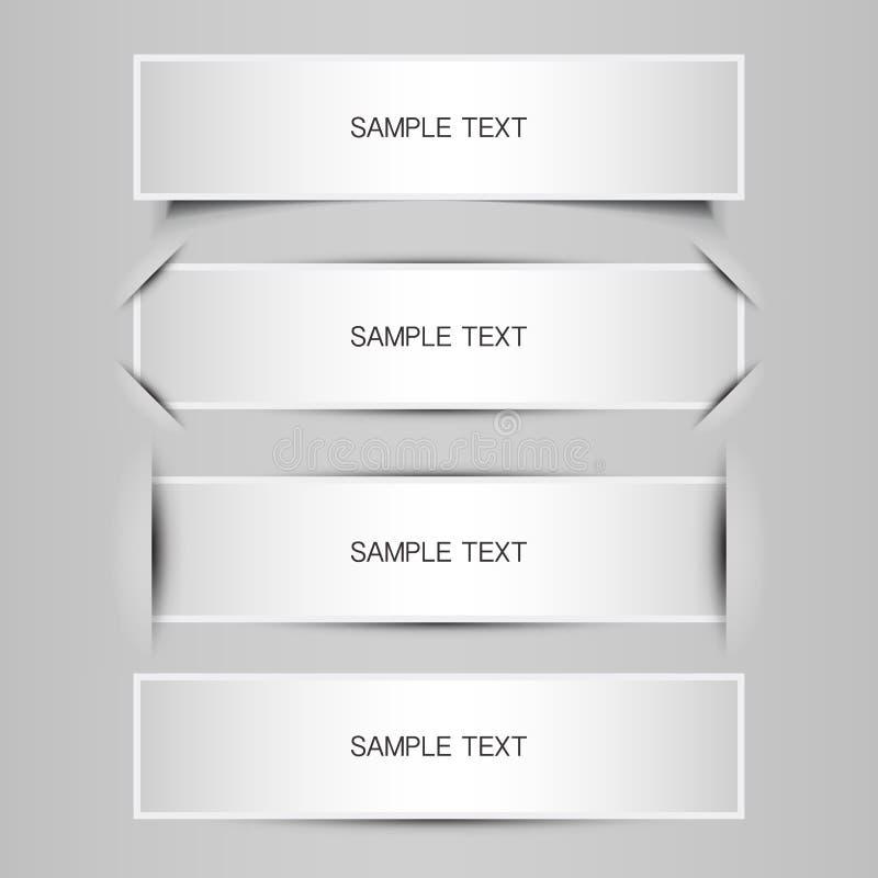 Progettazioni in bianco dell'etichetta, dell'etichetta o dell'insegna illustrazione di stock