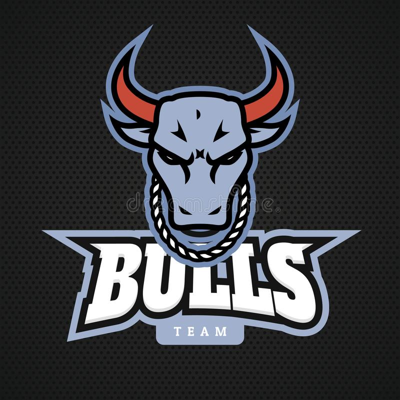 Progettazioni cape dell'icona di logo del toro con la catena sul vettore del collo illustrazione di stock