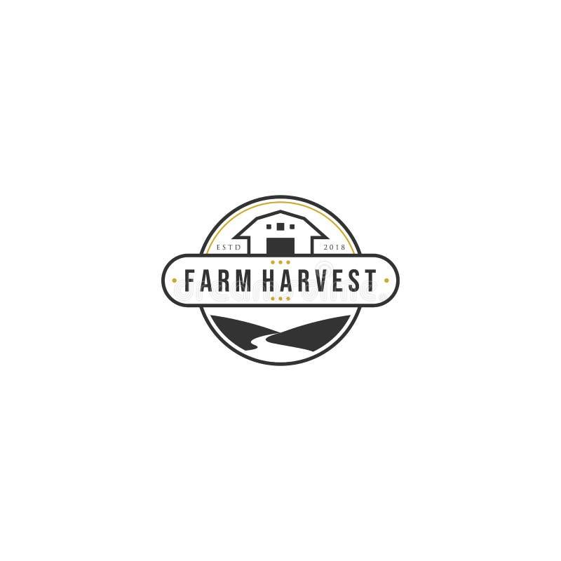 Progettazioni d'annata di logo del raccolto dell'azienda agricola con i fiumi illustrazione di stock