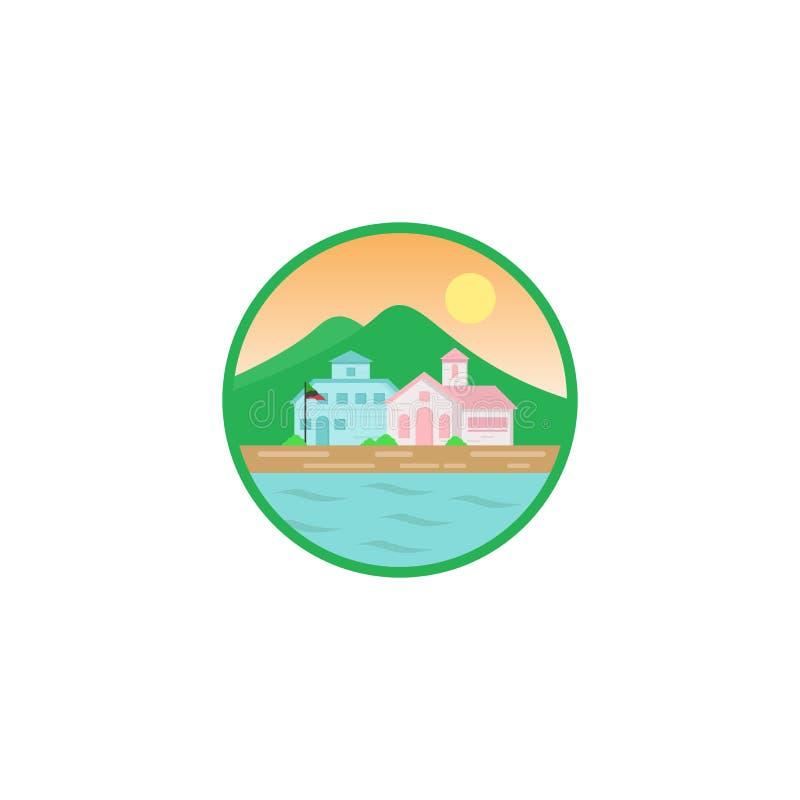 Progettazioni dell'illustrazione del paesaggio con i fiumi o vista e montagna della spiaggia illustrazione di stock