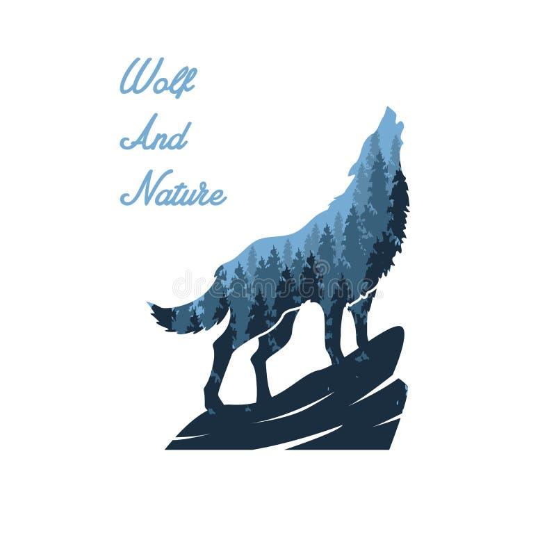 Progettazioni dell'illustrazione della natura e del lupo royalty illustrazione gratis