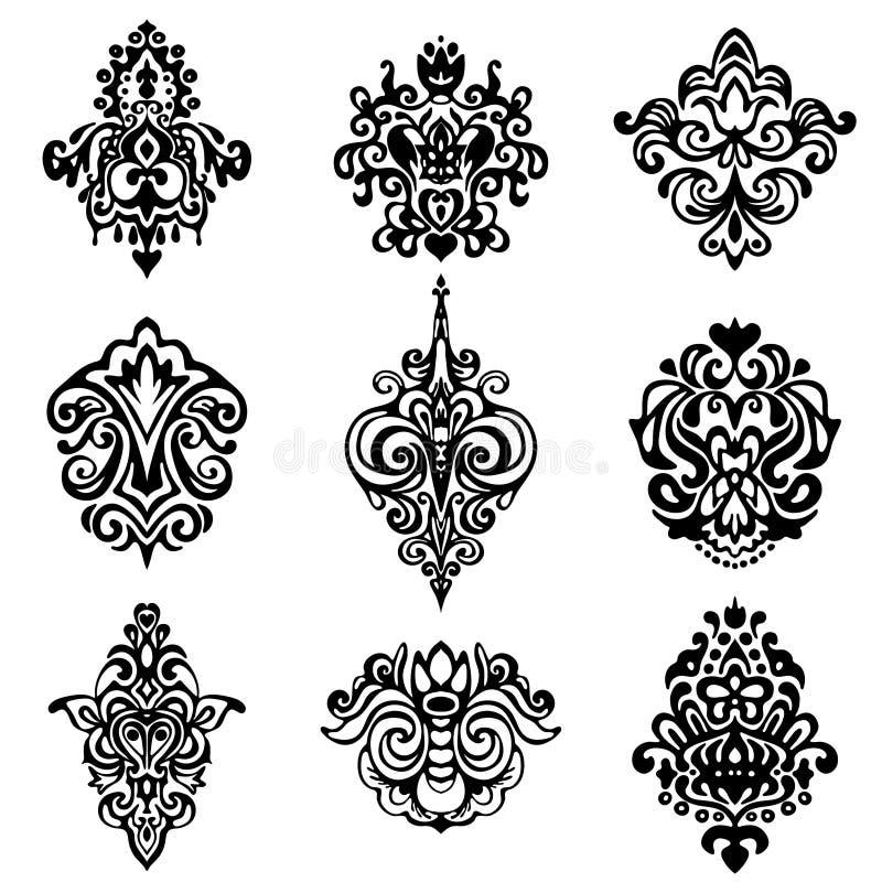 Progettazioni dell'ornamentale del fiore del damasco illustrazione di stock
