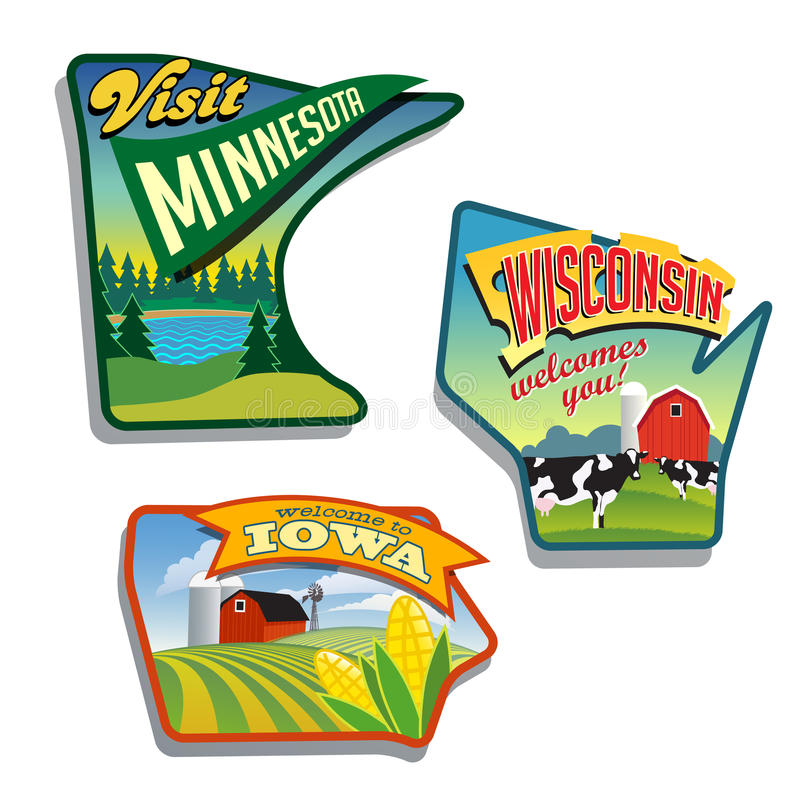 Progettazioni delle illustrazioni di Midwest Stati Uniti Minnesota Wisconsin Iowa fotografie stock libere da diritti