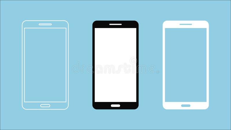 3 progettazioni dello smartphone isolato di 9:16 dello schermo attivabile al tatto su fondo blu royalty illustrazione gratis