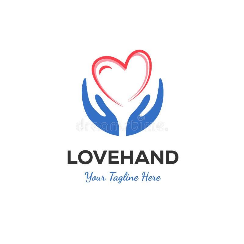 Progettazioni di logo di amore e della mano illustrazione vettoriale