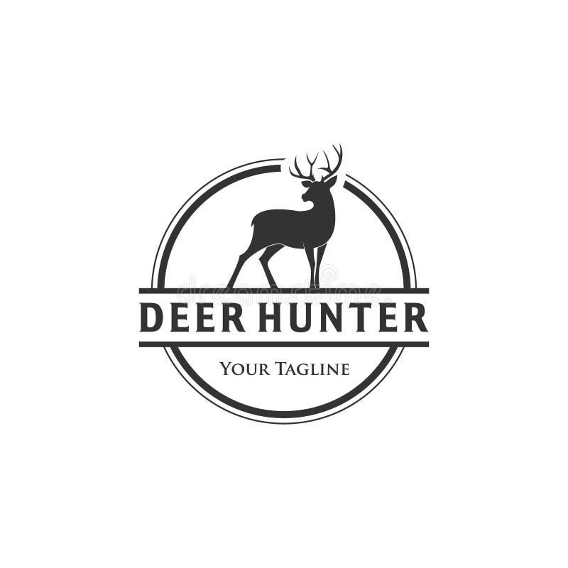 Progettazioni di logo dei cervi della fauna selvatica, cercare logo del club illustrazione di stock
