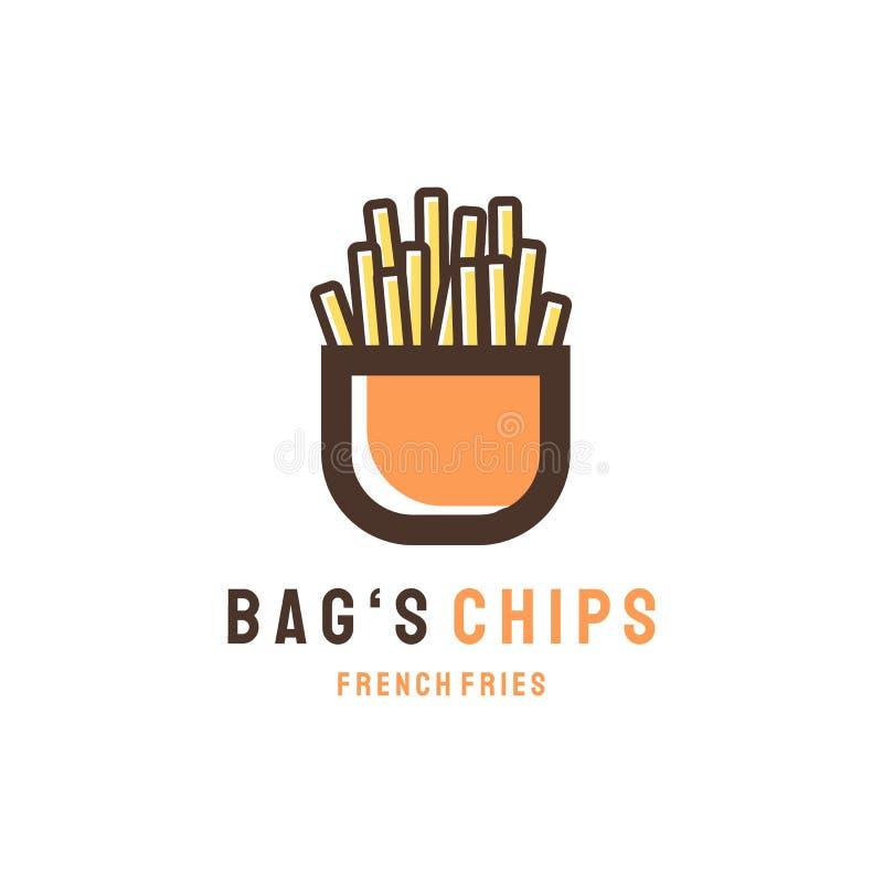 Progettazioni di logo dei chip delle borse, concetto moderno illustrazione di stock
