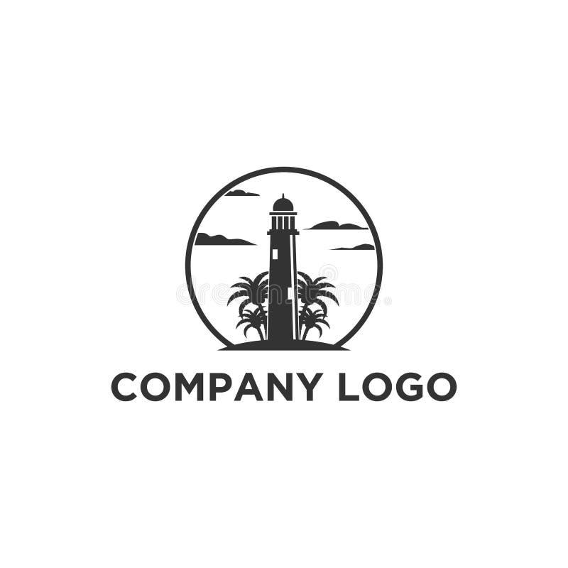 Progettazioni di logo del faro con le palme royalty illustrazione gratis