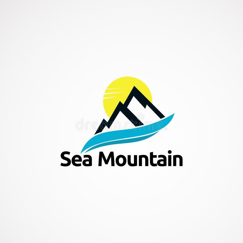 Progettazioni di massima di logo della montagna del mare, icona, elemento e modello per la società illustrazione di stock
