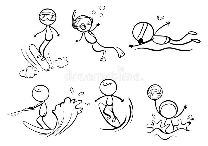 Progettazioni di scarabocchio delle attività all'aperto differenti illustrazione vettoriale