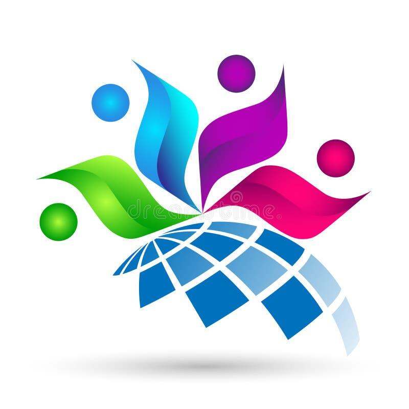 Progettazioni di vettore dell'icona di diversità della gente del lavoro di gruppo di celebrazione di istruzione di associazione d illustrazione di stock