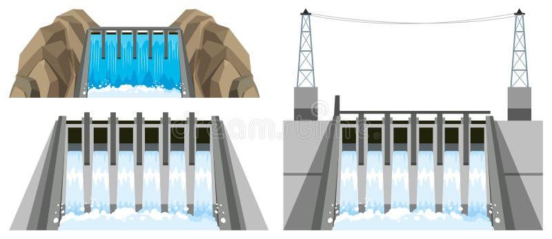 Progettazioni differenti della diga illustrazione vettoriale