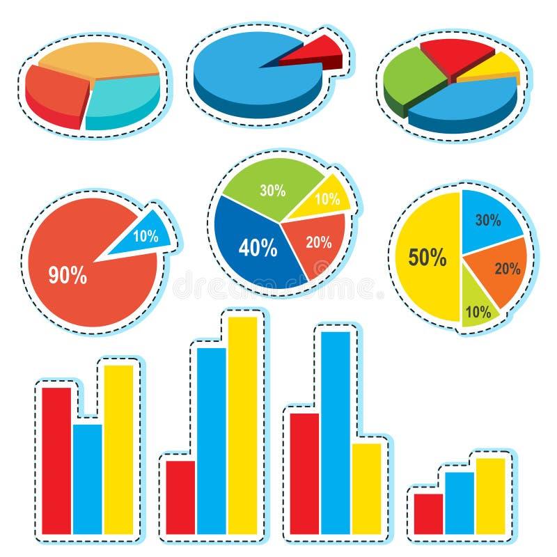 Progettazioni differenti per i diagrammi a spicchi ed i diagrammi a colonna illustrazione di stock
