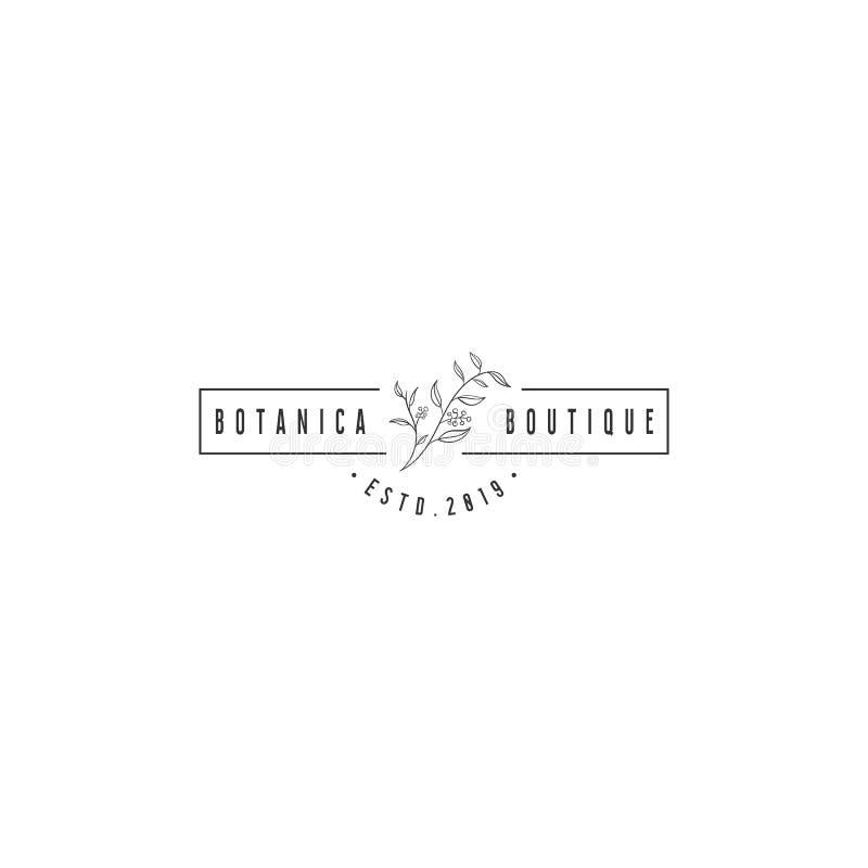 Progettazioni disegnate a mano di logo del fiore illustrazione vettoriale