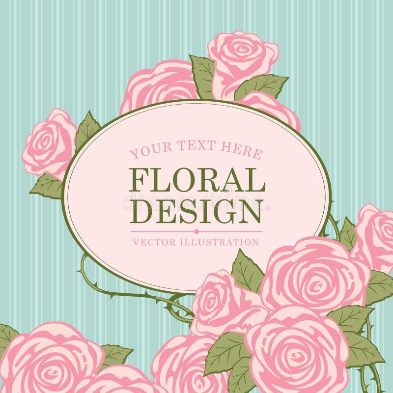 Progettazioni floreali con le rose royalty illustrazione gratis