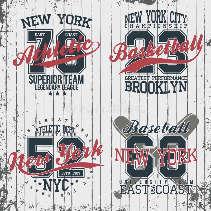 Progettazioni grafiche della maglietta d'annata atletica L'insieme della stampa timbra, atletico, baseball, pallacanestro illustrazione vettoriale