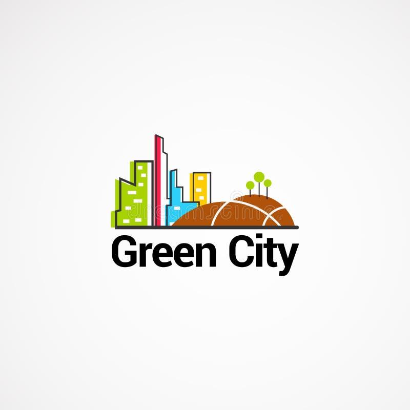 Progettazioni, icona, elemento e modello verdi di logo della città per l'affare fotografia stock