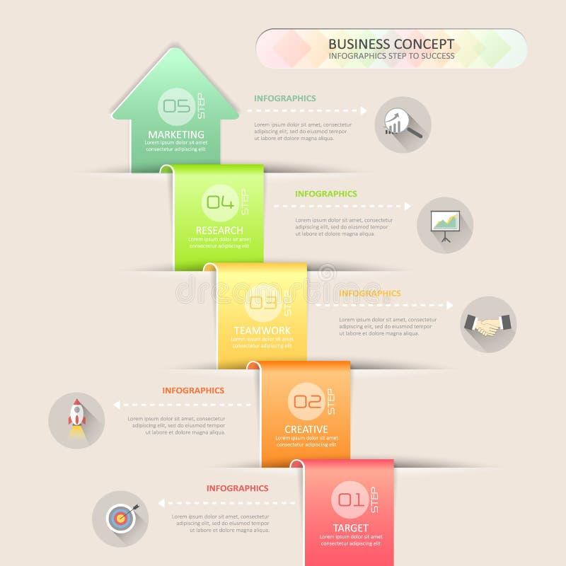Progetti i punti infographic del modello 4 della freccia astratta 3d per il concetto di affari illustrazione vettoriale