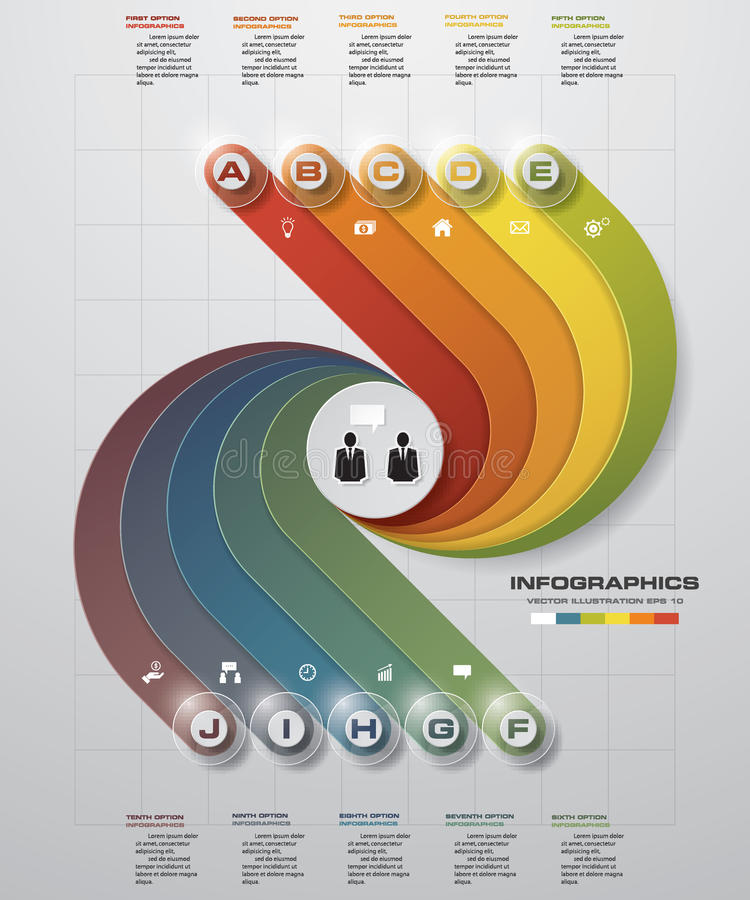 Progetti il modello delle insegne di numero/disposizione pulito del sito Web o del grafico un grafico di 10 punti illustrazione di stock