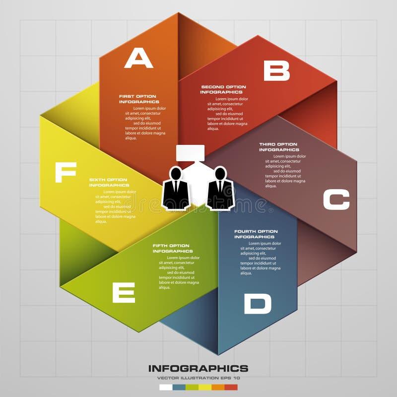 Progetti il modello delle insegne/disposizione pulito del sito Web o del grafico un grafico di 6 punti Vettore illustrazione vettoriale