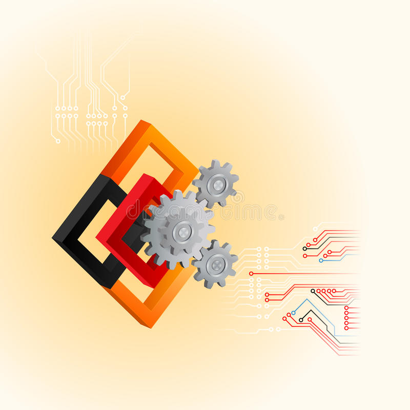 Progetti il modello per il fondo della tecnologia con le ruote dentate ed i quadrati illustrazione di stock