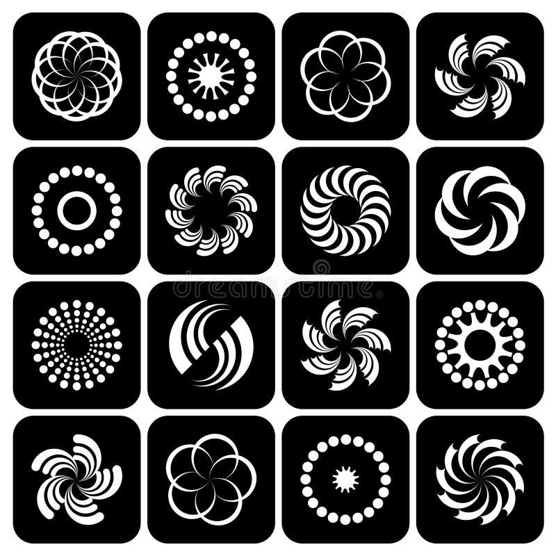 Progetti l'insieme di elementi Forme di rotazione e del cerchio illustrazione vettoriale