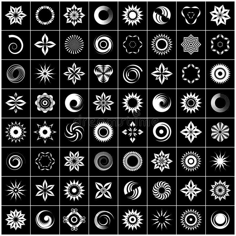 Progetti l'insieme di elementi 64 icone bianche astratte su fondo nero royalty illustrazione gratis