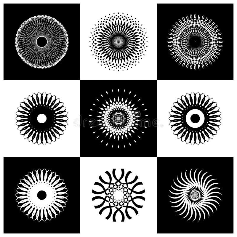 Progetti l'insieme di elementi Icone decorative del cerchio in bianco e nero astratto illustrazione vettoriale