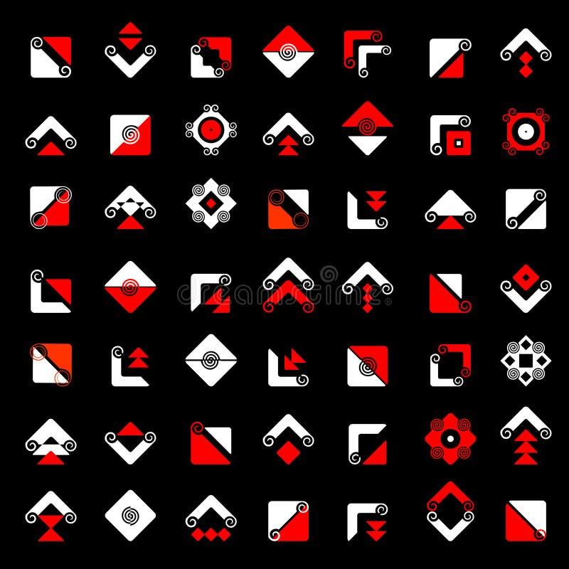 Progetti l'insieme di elementi Icone rosse dell'estratto e bianche geometriche royalty illustrazione gratis