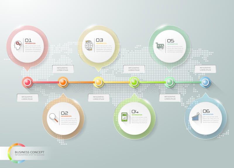 Progetti la cronologia infographic, opzioni di affari del modello 6 di Infographic illustrazione di stock
