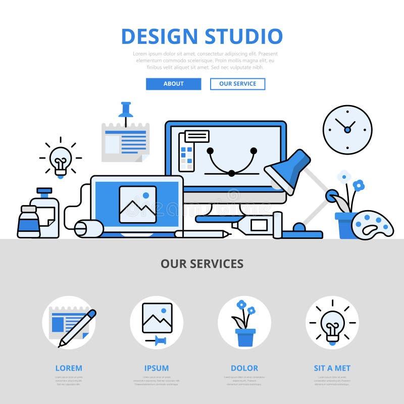 Progetti la linea piana icone di concetto del posto di lavoro dello studio di vettore di arte illustrazione vettoriale