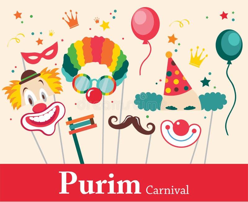 Progetti per la festa ebrea Purim con le maschere ed i puntelli tradizionali Illustrazione di vettore royalty illustrazione gratis