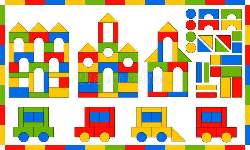 Progettista dei bambini s Corredo di costruzione multicolore Gioco di sviluppo per i bambini Costruzioni e veicoli dai blocchi se royalty illustrazione gratis