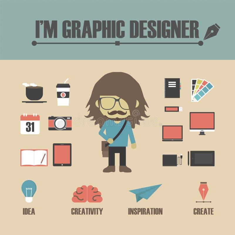 Progettista grafico illustrazione di stock