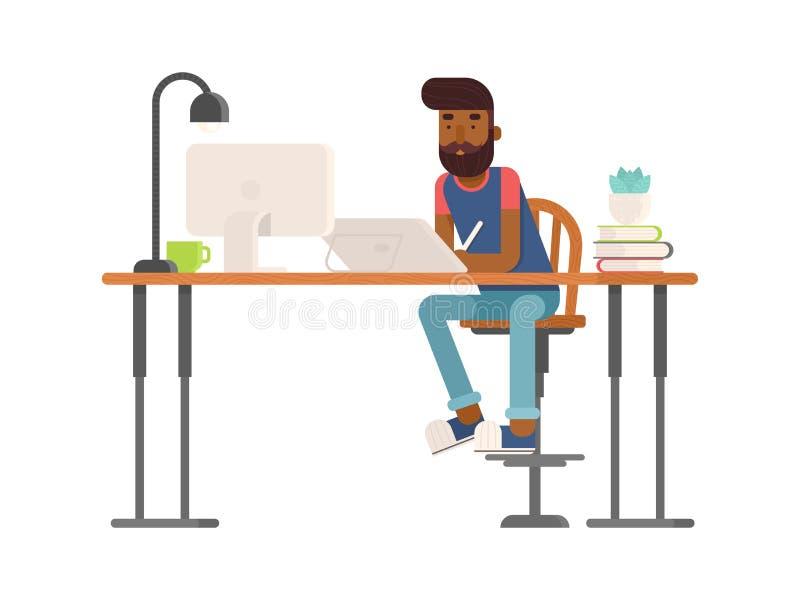 Progettista indipendente, carattere dell'artista di CG nello stile piano illustrazione di stock
