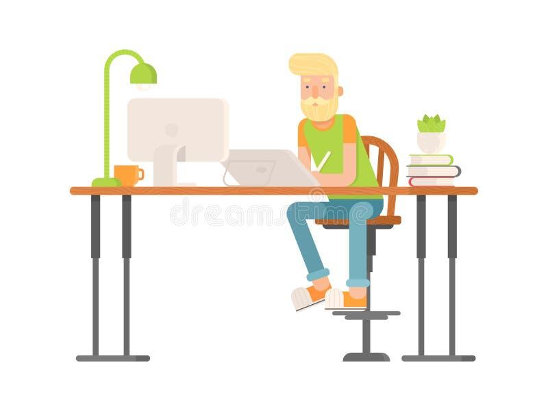 Progettista indipendente, carattere dell'artista di CG nello stile piano illustrazione vettoriale