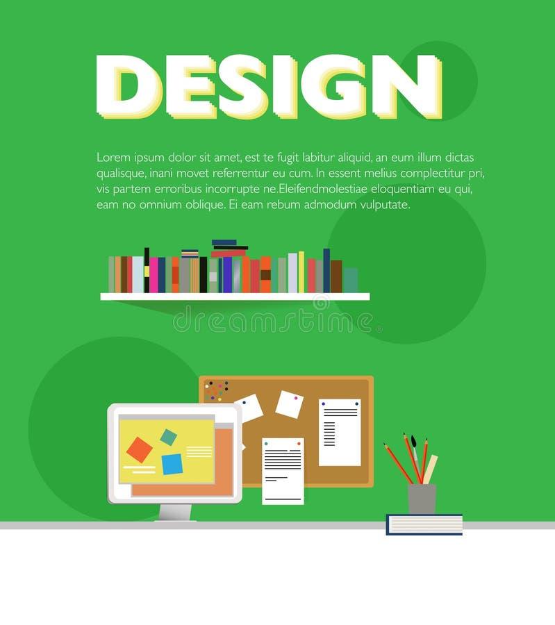 Progettista piano Workplace Elements Template illustrazione di stock