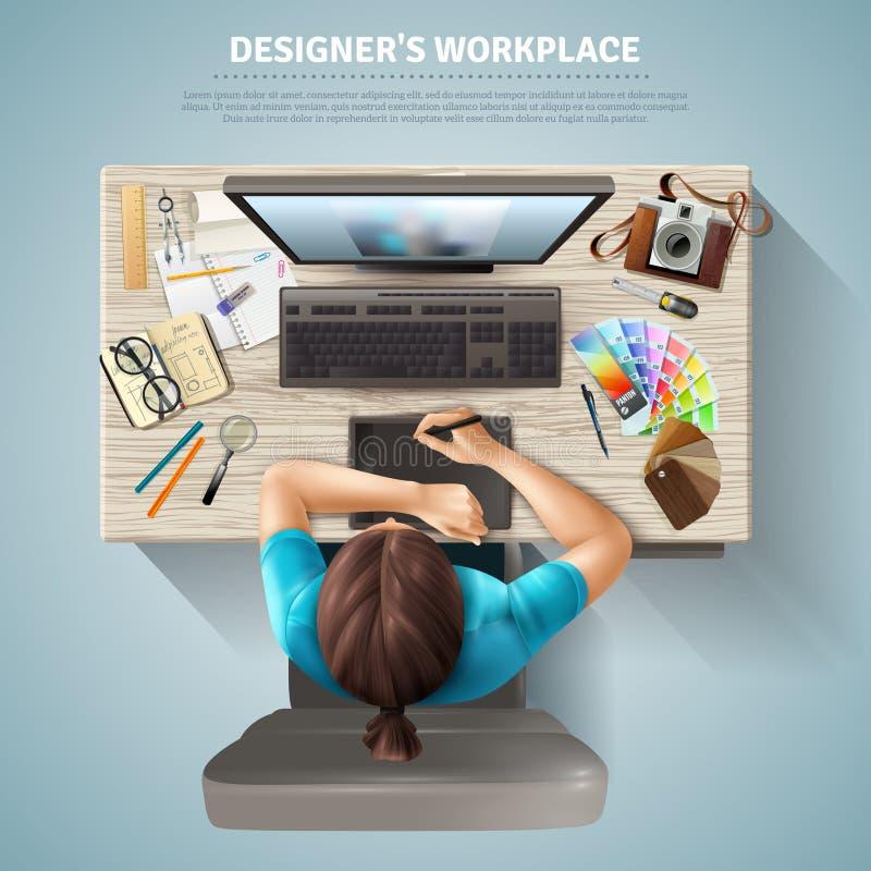 Progettista Top View Illustration illustrazione di stock